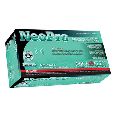 Microflex NeoPro Chemically Resistant Powder Free Gloves - 100 gloves per box and 1000 to a case. Shown is the Large size box