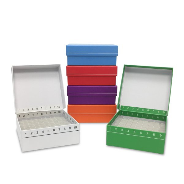 Bulls-Eye Box™ Cardboard Freezer Boxes with Hinged Grid Lid, for 100 Tubes  or Cryovials, Assorted Colors, 5/PK
