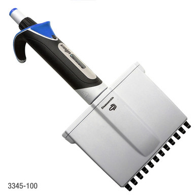 Globe Scientific 12 channel adjutable volume multichannel pipette 3345-100 with rotating manifold, volume lock, easy to read analog dial and comfortable grip