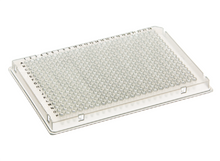 Stellar Scientific 384 Well Skirted PCR Assay Plate with A24 Notch for ABI Life Technologies and Other Leading Brand Thermal Cyclers - Lab Supplies. While the image shows a clear plate, this is actually the white version