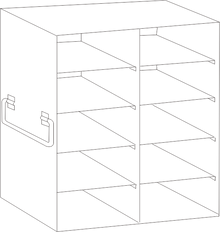 Image of UFDS-100-25 Freezer Rack for 100 place Microscope Slide Boxes. Holds 10 boxes