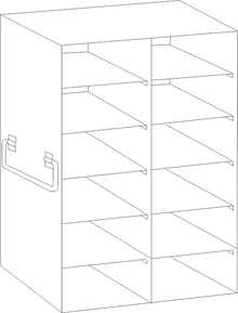 Image of UFDS-100-26 Freezer Rack for 100 place Microscope Slide Boxes. Holds 12 boxes in a 6 high by 2 deep configuration - Freezer Racks - Stellar Scientific