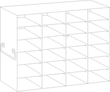 Image of UFDS-100-46 Freezer Rack for 100 place Microscope Slide Boxes. Holds 24 boxes in a 6 high by 4 deep configuration - Freezer Racks - Stellar Scientific