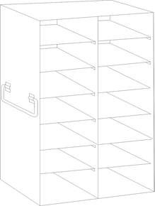 Image of UFDS-100-27 Freezer Rack for 100 place Microscope Slide Boxes. Holds 14 boxes in a 7 high by 2 deep configuration - Freezer Racks - Stellar Scientific
