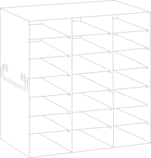 Image of UFDS-100-37 Freezer Rack for 100 place Microscope Slide Boxes. Holds 21 boxes in a 7 high by 3 deep configuration - Freezer Racks - Stellar Scientific