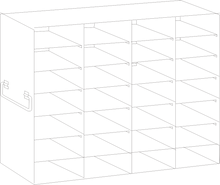 Image of UFDS-100-47 Freezer Rack for 100 place Microscope Slide Boxes. Holds 28 boxes in a 7 high by 4 deep configuration - Freezer Racks - Stellar Scientific