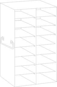 Image of UFDS-100-28 Freezer Rack for 100 place Microscope Slide Boxes. Holds 28 boxes in a 8 high by 2 deep configuration - Freezer Racks - Stellar Scientific