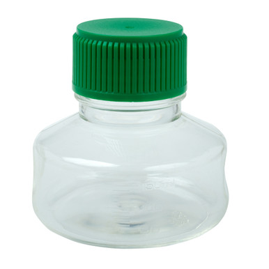CellTreat 229781 150mL Sterile Polystyrene Media and Solution Bottle for Storing Laboratory Liquids. Comes with HDPE Green Cap can be used together with a CellTreat vacuum filter bottle top or independently for media and solution storage