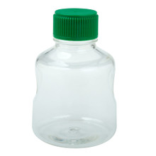 CellTreat 229784 500mL Sterile Polystyrene Media and Solution Bottle for Storing Laboratory Liquids. Comes with HDPE Green Cap can be used together with a CellTreat vacuum filter bottle top or independently for media and solution storage