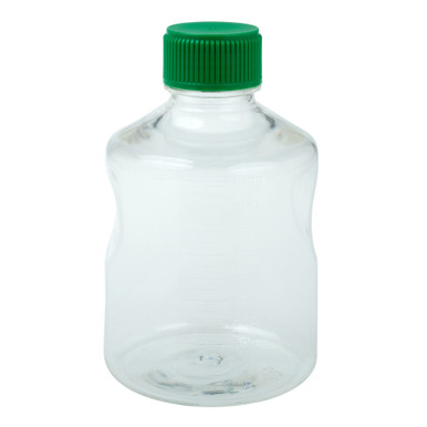 CellTreat 229785 1L Sterile Polystyrene Media and Solution Bottle for Storing Laboratory Liquids. Comes with HDPE Green Cap can be used together with a CellTreat vacuum filter bottle top or independently for media and solution storage