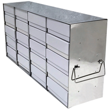 Stainless Steel Freezer Rack for 2 Inch Cryo Freezer Boxes UF-452 - Holds 20 Boxes  Five high by Four deep- Lab Supplies - Stellar Scientific - Actual Rack has shelves to support boxes
