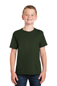 Short Sleeve T-Shirt - Forest Green - Youth with Full Front Screenprinted Logo