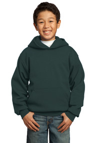 Hooded Sweatshirt - Forest Green - Youth with Full Front Screenprinted Logo