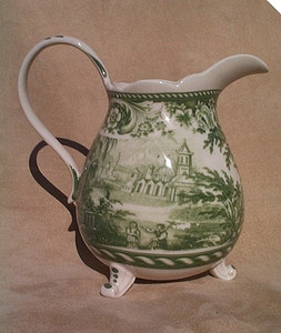 Green toile transferware footed pitcher ~ French Country