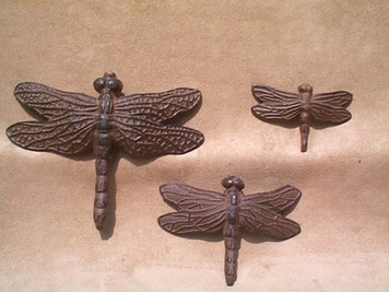 Dragonfly set of 3 garden plaques ~ cast iron