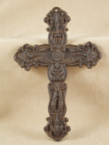 Floral Cross ~ rust cast iron ~ Vintage look religious wall decor