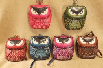Handmade leather owl wrislet ~ choice of colors!