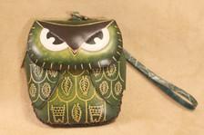 Green owl wristlet