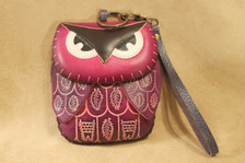 Purple owl wristlet