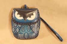 Blue owl wristlet