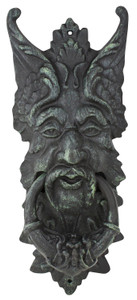 Cast iron gargoyle green man door knocker - dark verdi