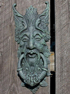 Cast iron gargoyle green man door knocker - dark verdi