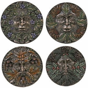 set of 4 green man plaques
