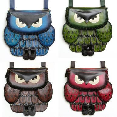 Handmade leather owl bag