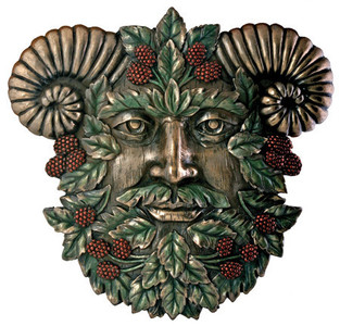 Summer Horned Green Man Plaque ~ resin