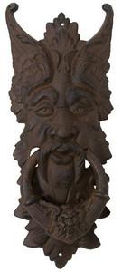 Gargoyle door knocker in rust cast iron ~ green man design
