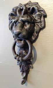 Medium lion door knocker ~ verdigris