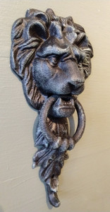 Medium lion door knocker ~ verdigris