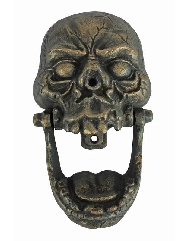Charmant Cast Iron Skull Door Knocker ~ Antiqued Bronze