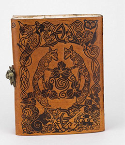 Handmade Woodland Fox leather journal sketch book ~ Jen Delyth design
