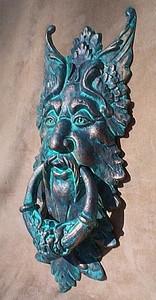 Gargoyle door knocker in light verdigris cast iron ~ green man design