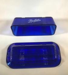 Cobalt butter dish