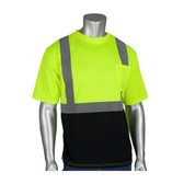 ANSI Class 2 Short Sleeve T-Shirt with 50+ UPF Sun Protection and Black Bottom Front