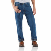 RELAXED-FIT STRAIGHT-LEG FLANNEL LINED JEAN