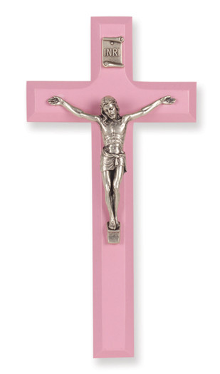 Pink Wood Crucifix