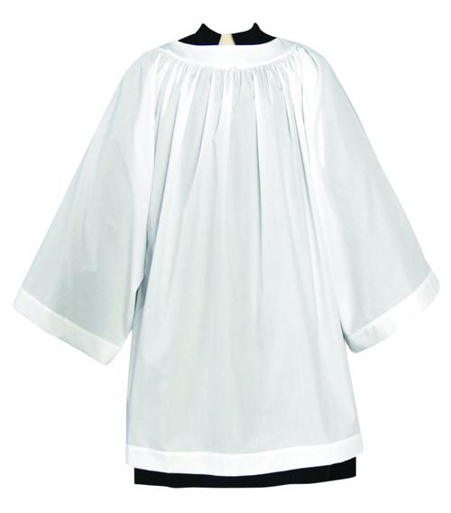 Tailored priest round yoke surplice with bell sleeves.