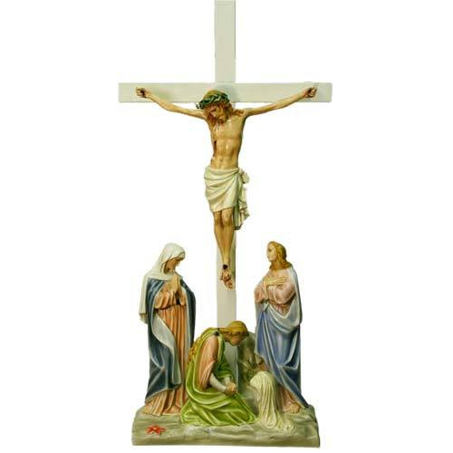 """Station 12 - Jesus is Crucified with Cross (50""""H - Fiberglass)"""