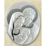 Holy Family Sterling Silver on Wood