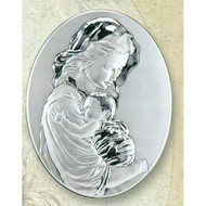 Mother and Child Sterling Silver on Wood
