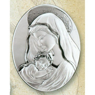 Mother and Child (oval) Sterling Silver on Wood