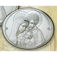 Holy Family (oval) Sterling Silver on Wood