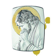 Praying Christ Sterling Silver & Gold on Wood  Plaque