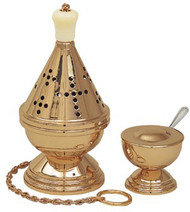 One-Chain Censer and Boat (pictured with Polish Brass Finish) K601