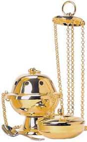 Censer and Boat (pictured with 24k Gold Plated Finish) K1001