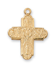 4-WAY GOLD PLATED STERLING SILVER CROSS J2210S