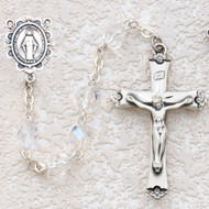 CRYSTAL AB RHODIUM MIRACULOUS ROSARY